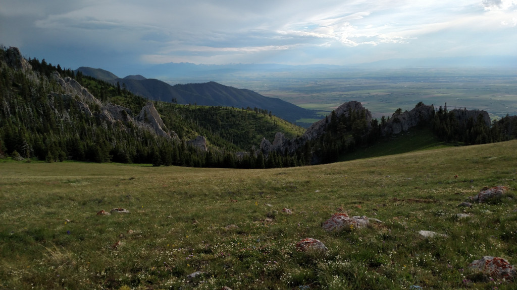 View of Bozeman and the Gallatin Valley. The spire and campsite are to the right.