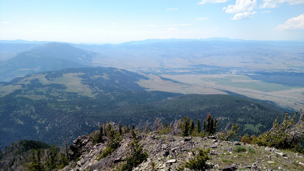 Looking west from the summit towards Livingston. Bozeman Pass can be seen in the distance.