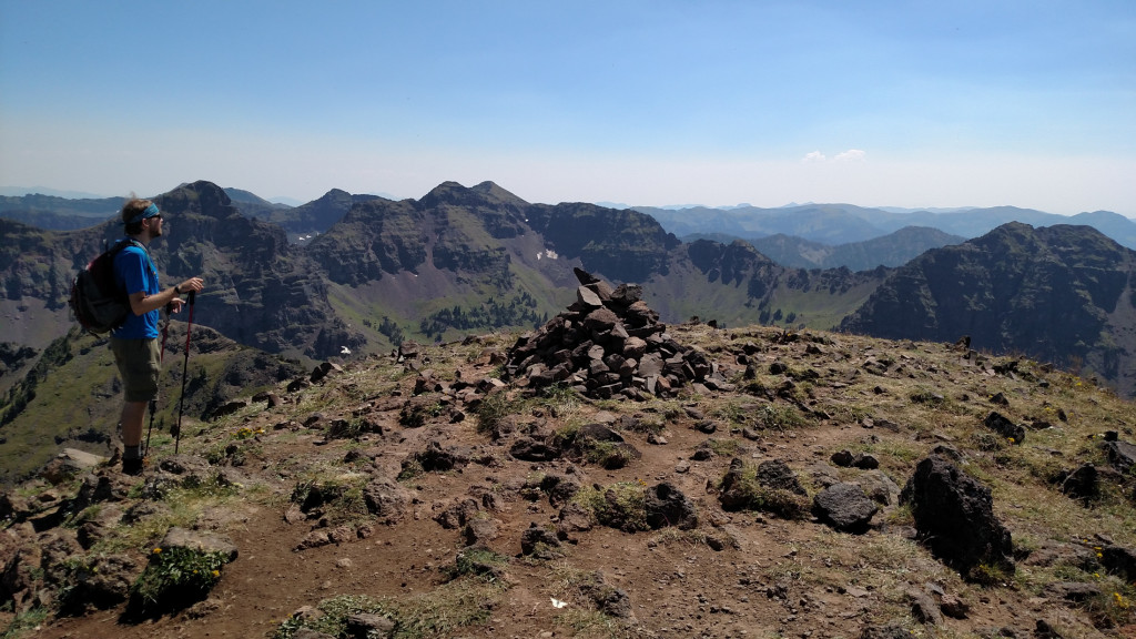 The Summit. Mount Bole (center left) in the distance and Alex Lowe Peak to the right.