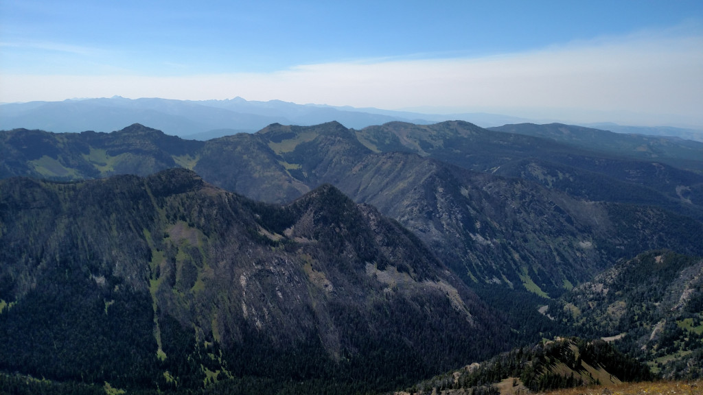 Looking west from the summit. The South Cottonwood drainage is down below.