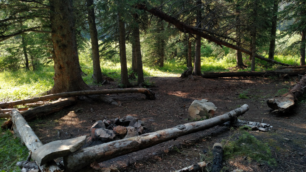 The campsite at the southern end of the lake.