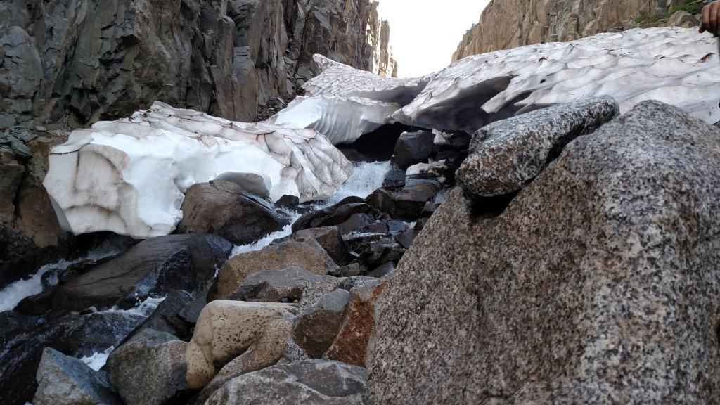 The creek flowing below.