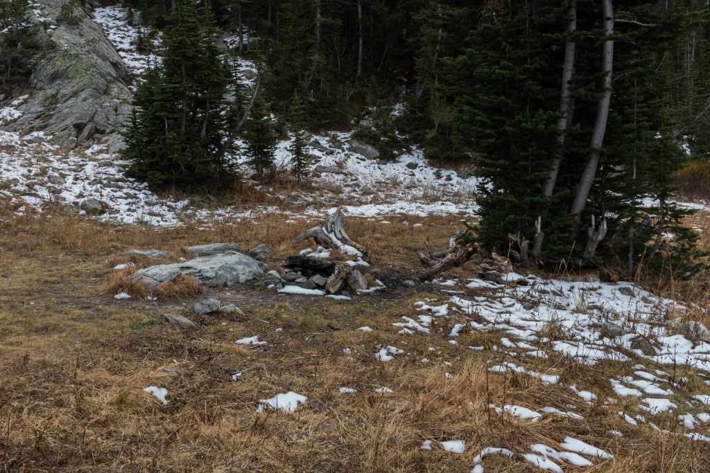 The other, less desirable campsite. A small group of ice climbers that we ran into had occupied it the previous night.