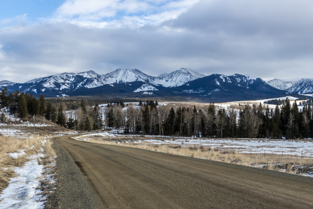 First good view of the Tabletop (center left) and Sunlight Peak (center right) along the dirt road. Photo taken in February 2016.