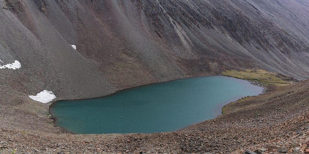 View of the unnamed lake from the scree slopes.