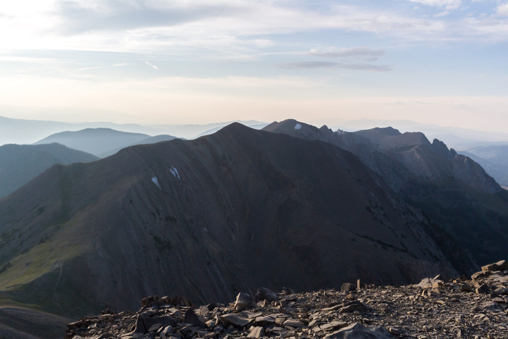 The northern Bridgers as seen from the summit. Pomp Peak (center left) and Hardscrabble (center right) can both be accessed by heading north from Sacajawea Pass.