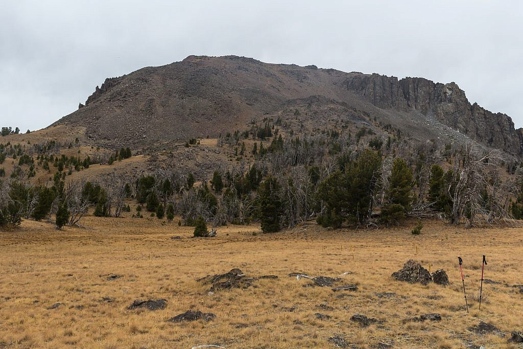 """Approaching Black Butte from the east. Note the """"ramp"""" which slices through the east face of the butte. This is the route you want to follow to the top"""