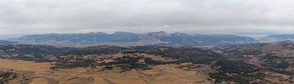 Looking west from the summit. The Snowcrest Range, in the distance, is arguably one of the most remote mountain ranges in the state. There are no easy access points which makes its highpoint, Sunset Peak (10,581′), exceptionally difficult to reach.