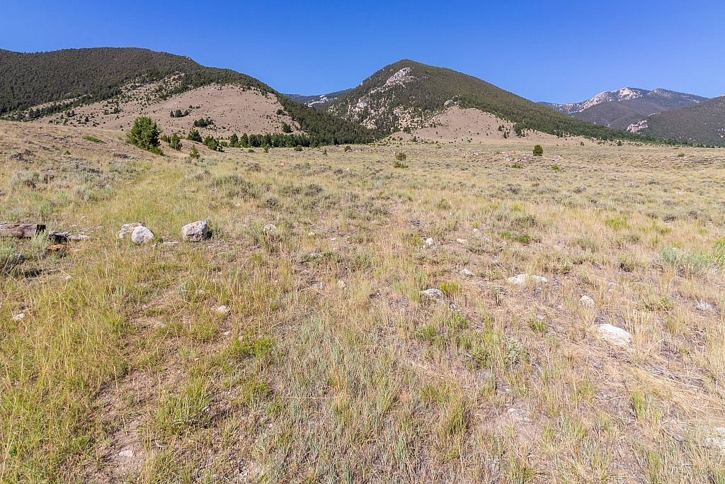The faint ATV track leading to Porier Canyon (center left). Cedron Jones recommends a loop where you head up Laurin Canyon (right) instead, loop over Laurin Peak (right) and Ruby Peak (hidden) and descend through Porier Canyon back to the lot.