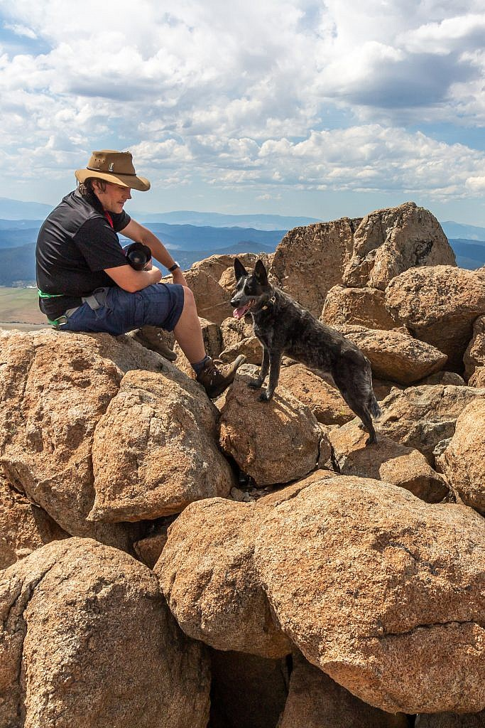 Raimie and his dog Vega on the summit.