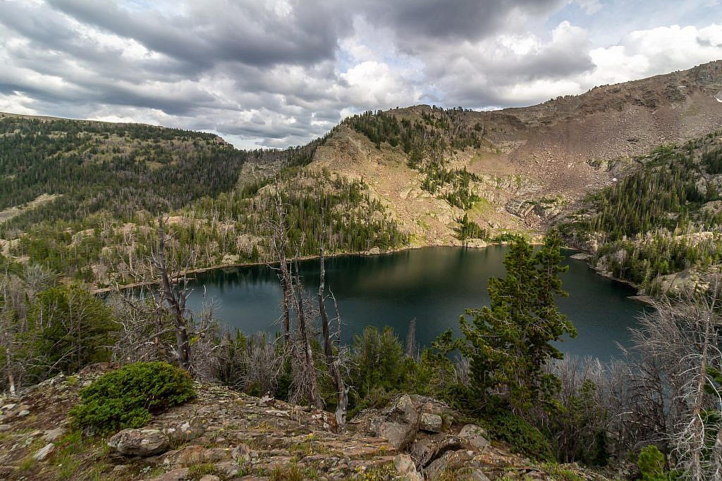 View of Sheep Lake from a lookout on the slopes north of the lake.