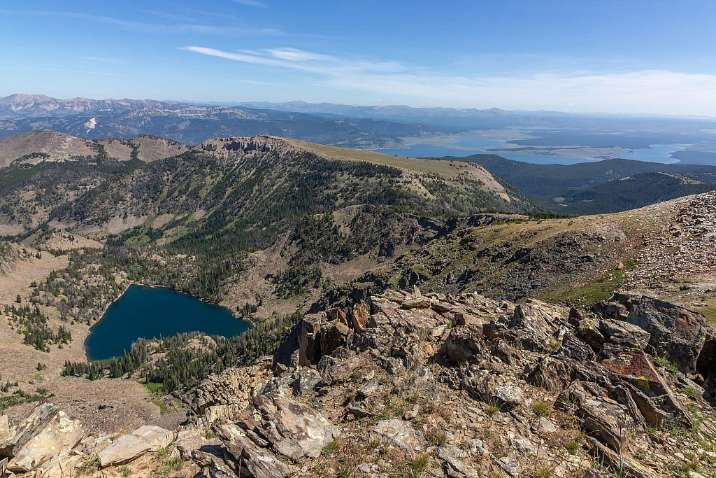 Looking east from the summit towards Hegben Lake. It turns out Sheep Lake looks like a giant heart from above. If you were to follow Cedron Jones' route you'd follow the ridge around to Coffin Mountain and descend its north ridge back to the trail.