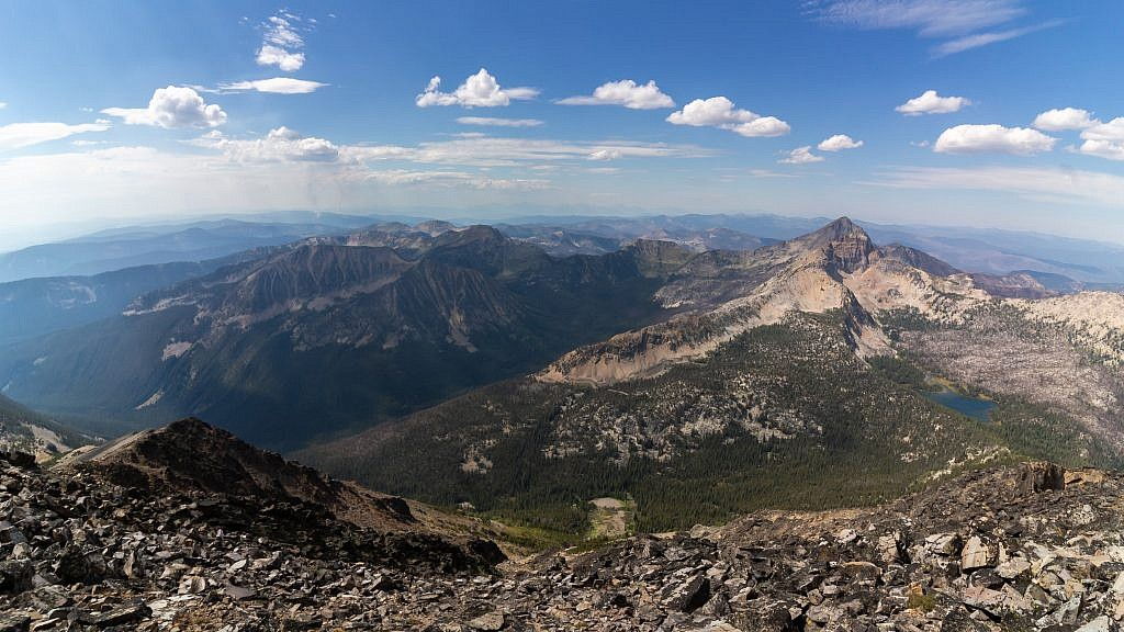 Looking east from the summit. Warren Peak (10,463′) and Warren Lake on the right.
