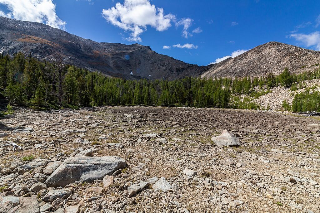 The dried up lake basin.