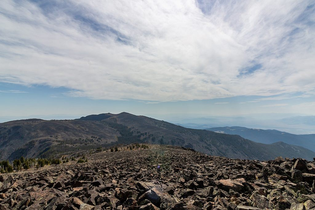 View of Crow Peak from the summit of Elkhorn Peak. The traverse between the two peaks is definitely the highlight of the hike and the route should be fairly obvious.