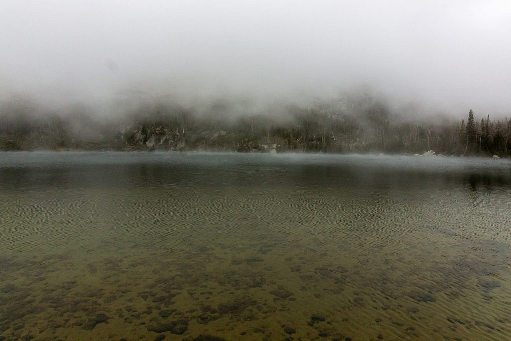 Early morning shot of Hollowtop Lake in the mists.