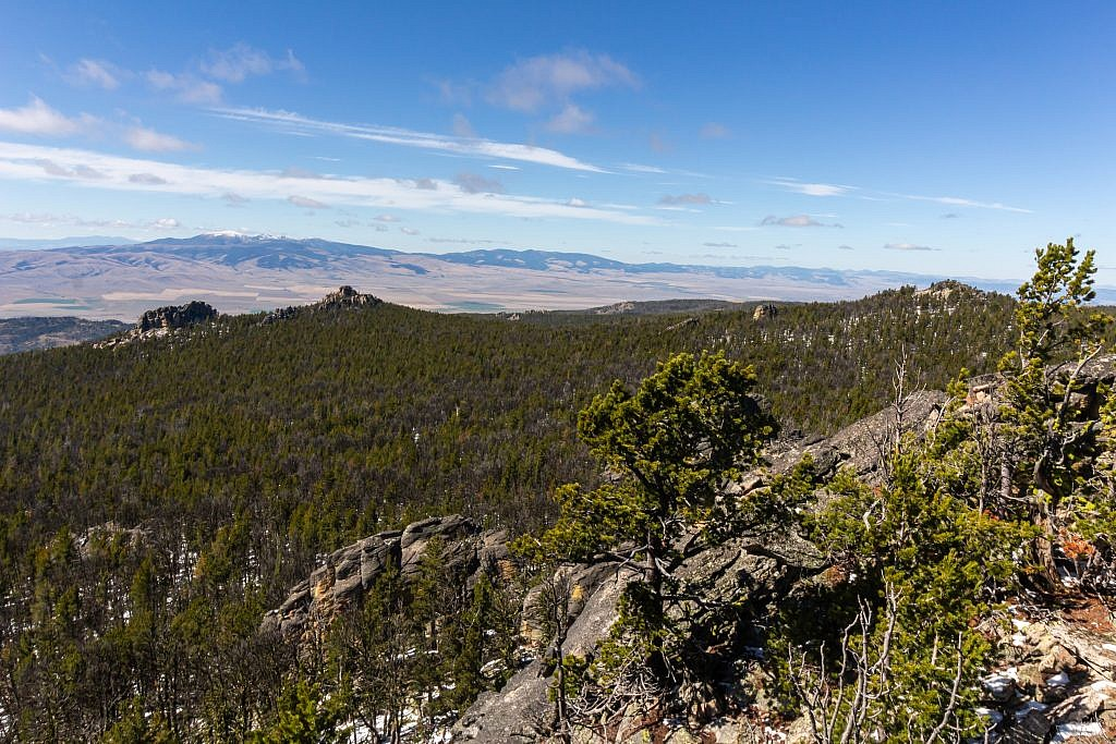 Looking northwest from the summit. Big Belts in the distance on the left and Wapiti Peak on the right.