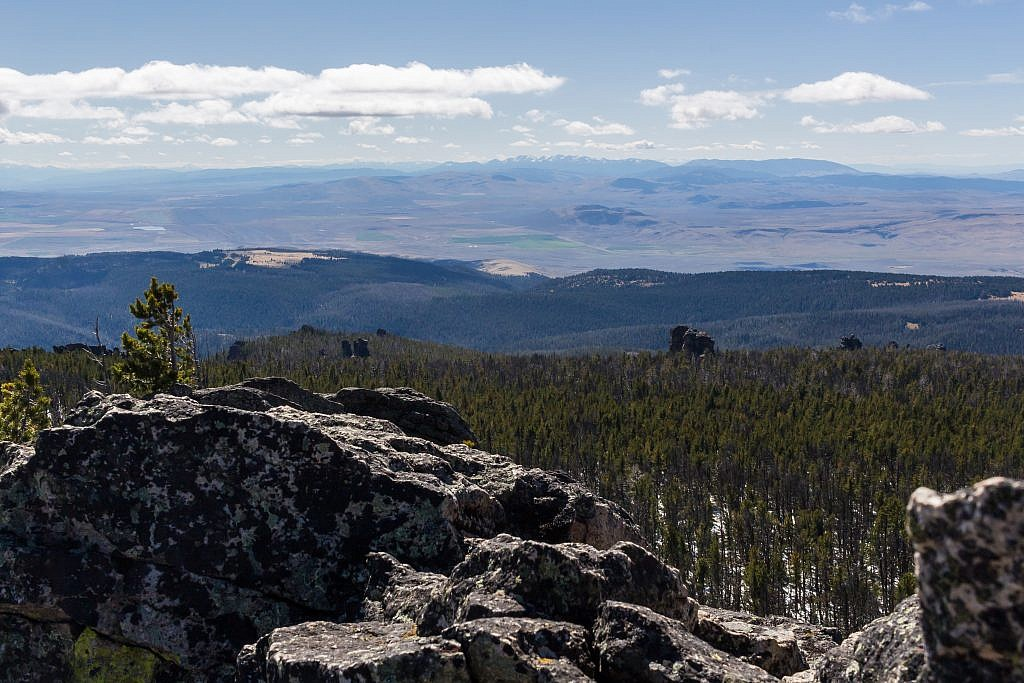"""Looking southwest from the summit over the Shields River Valley. Bridgers in the distance. Notice all the """"castles"""" poking out of the forest."""