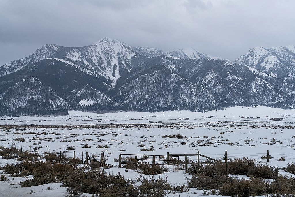North end of the Henry's Lake Mountains. Sheep Point on the center right in the clouds. Sheep Mountain false summit on the center left.