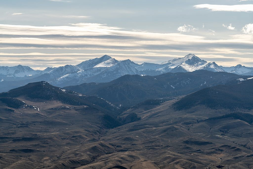 Close-up of Torrey Mountain (left) and Tweedy Mountain (right) of the East Pioneer Mountains.
