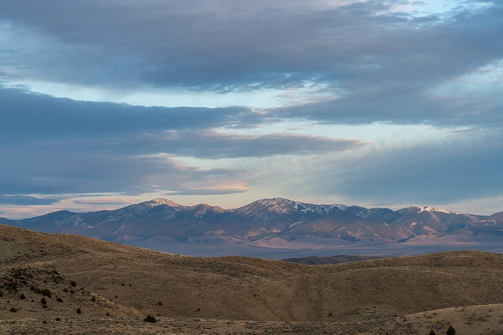 Looking southeast towards the Ruby Range. I summited the highpoint, Ruby Peak (right), last summer.