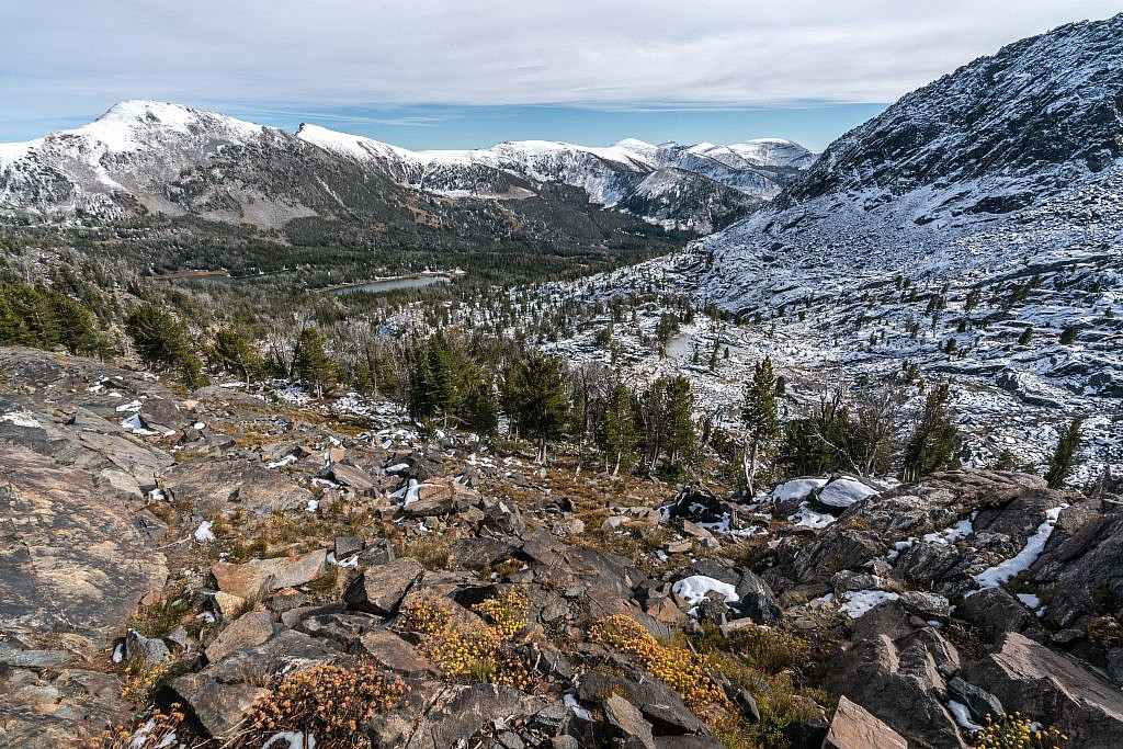 Looking over the Branham Lakes basin from the saddle east of Gneiss Lake.