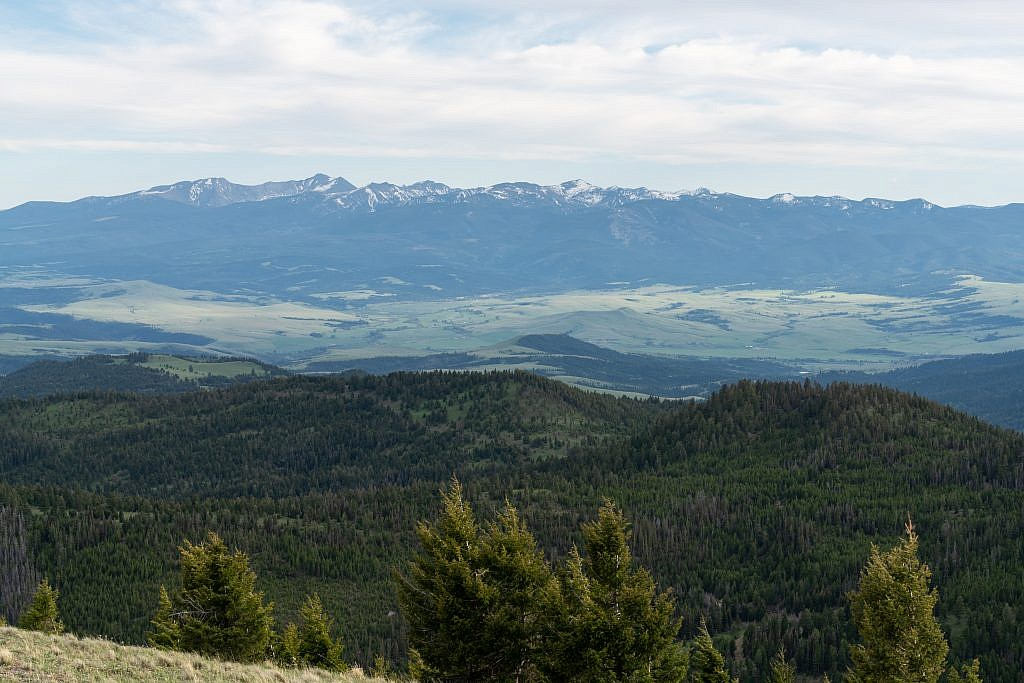 Looking south from the summit towards the Flint Creek Range. Mount Powell, the highpoint which I did last year, is the second peak from the left.