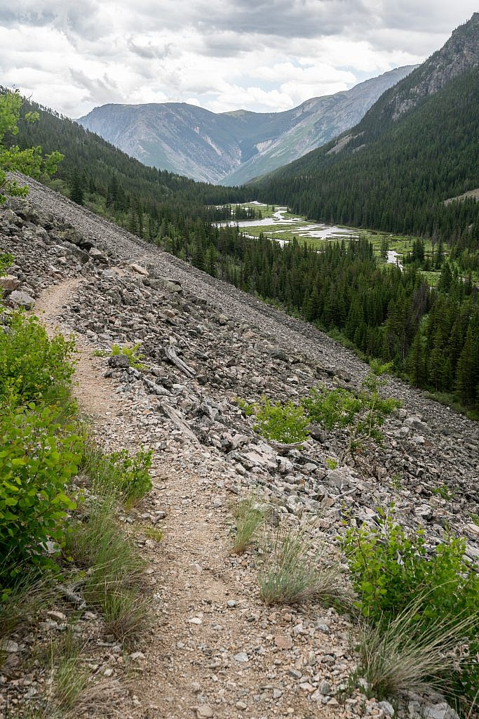 Looking down the Phantom Creek drainage. Slough Lake in the background.